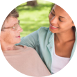 caregiver and elder talking